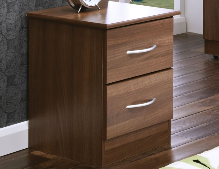 Tara 2 Drawer Walnut Bedside Chest