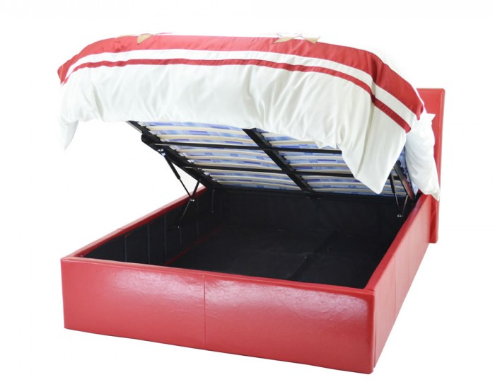 Manera Red Faux Leather Ottoman Bed
