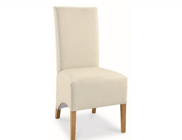 Lyon Oak Ivory Faux Leather Dining Chairs