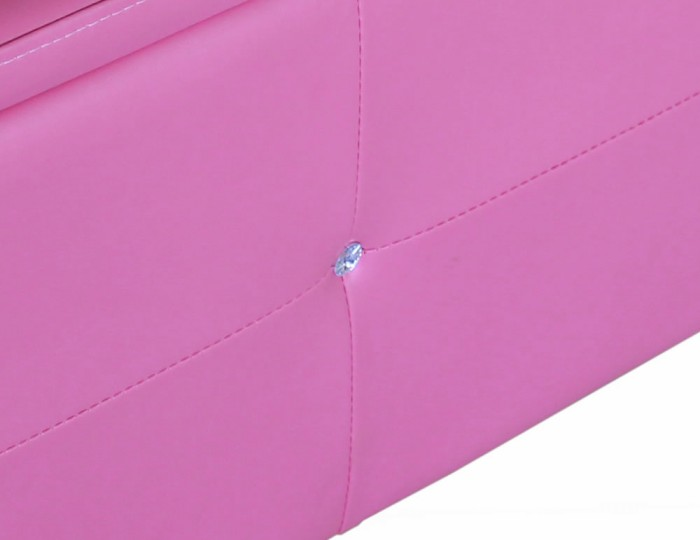Diamond Pink Faux Leather Ottoman *Special Offer*