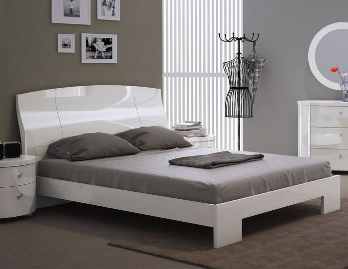 Pryce White Gloss Bed Frame