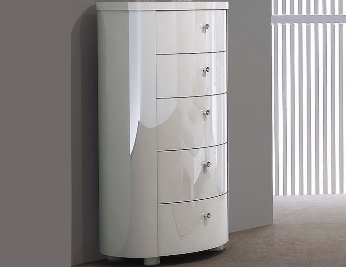Pryce White Gloss 5 Drawer Tall Chest