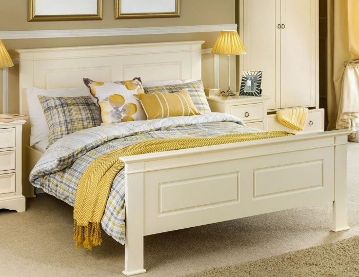 Cosette Stone White Bed Frame