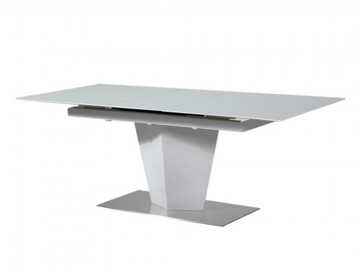Brodie White High Gloss And Glass Extending Dining Table