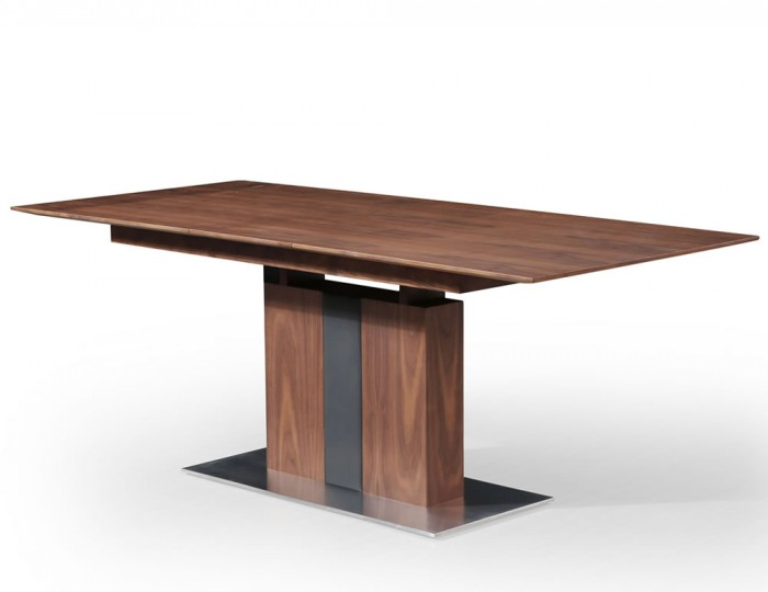 Killister Walnut Veneer And Brushed Steel Extending Dining Table
