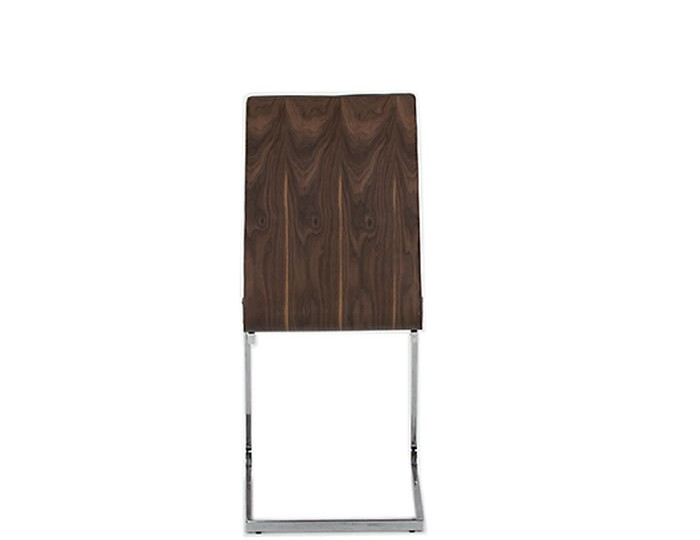 Killister Walnut Veneer and Grey Faux Leather Dining Chair