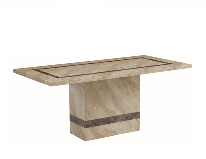 Charleston 180cm Cream Marble Rectangle Dining Table
