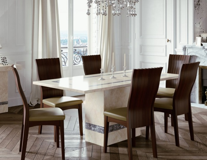 Charleston 180cm Cream Marble Rectangle Dining Table Set