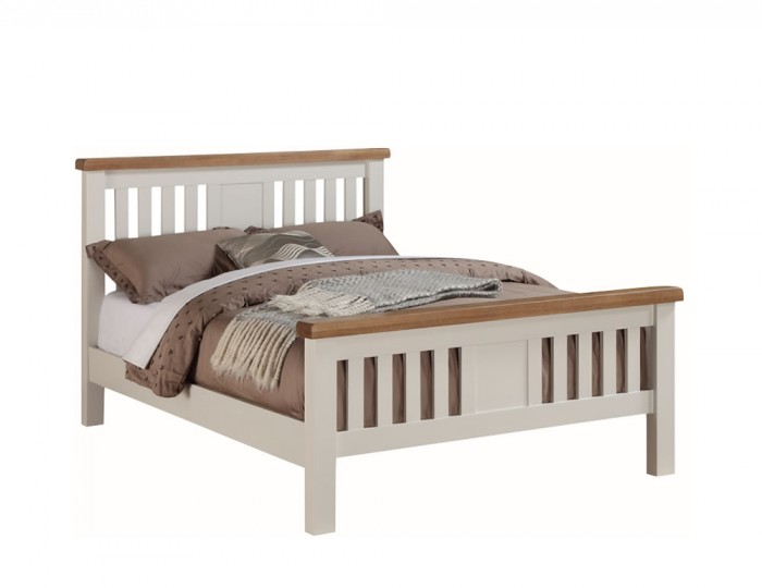 Walden Stone White and Oak Bed Frame