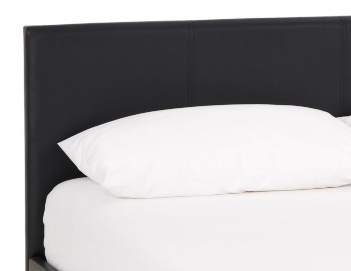 Cervaro Black Faux Leather Ottoman Bed