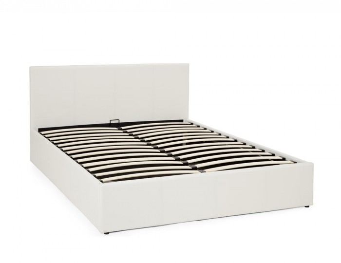 Cervaro White Faux Leather Ottoman Bed