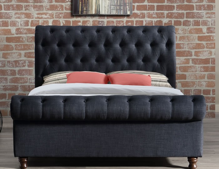 Francesco Charcoal Upholstered Bed Frame