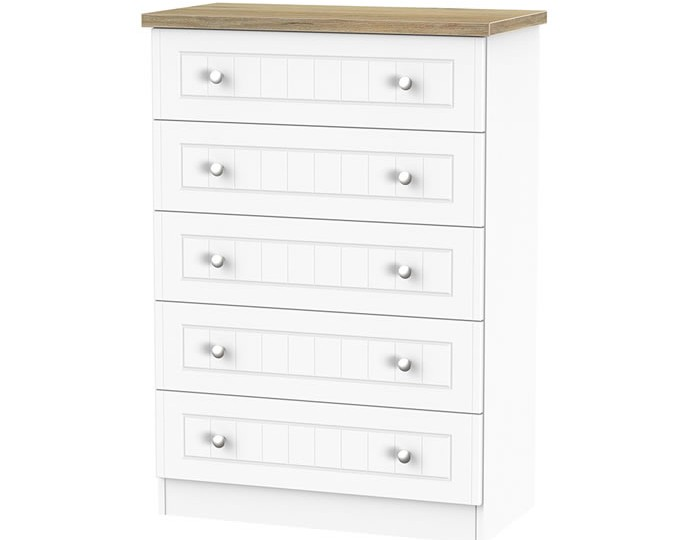 Catalonia Porcelain and Bordeaux Oak 5 Drawer Chest