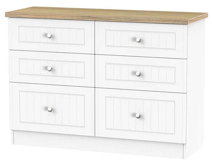 Catalonia Porcelain and Bordeaux Oak 6 Drawer Midi Chest
