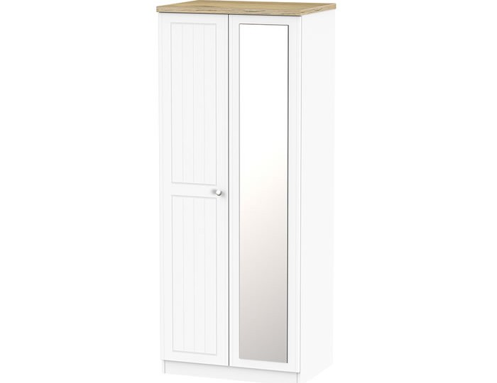 Catalonia Porcelain and Bordeaux Oak 2 Door Wardrobe with Mirror