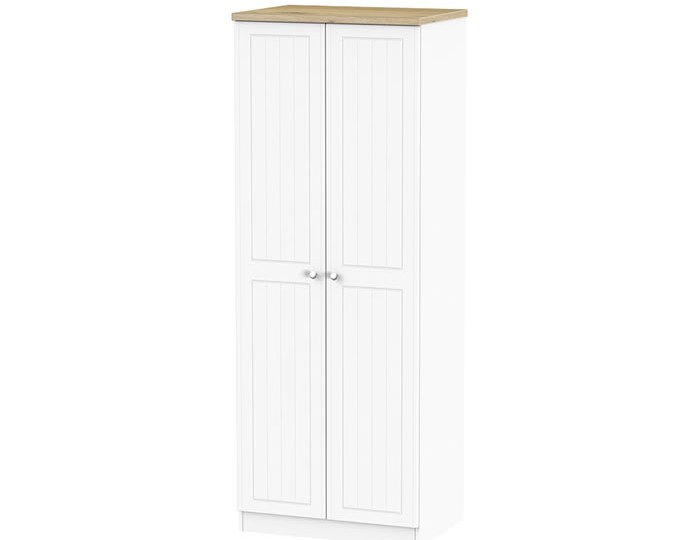 Catalonia Porcelain and Bordeaux Oak 2 Door Tall Wardrobe