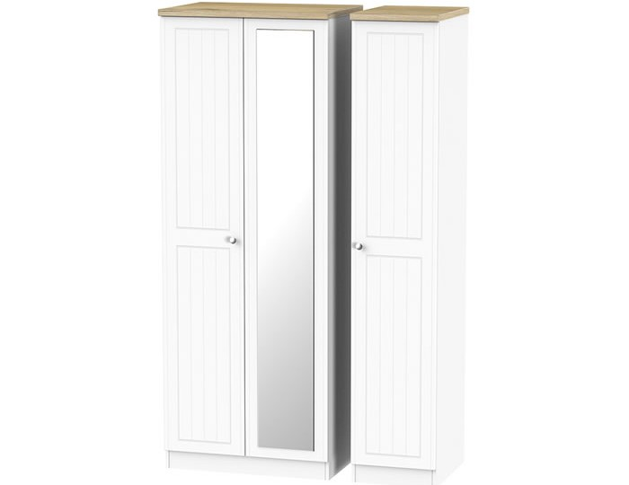 Catalonia Porcelain and Bordeaux Oak 3 Door Wardrobe with Mirror