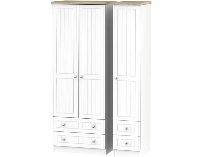 Catalonia Porcelain and Bordeaux Oak 3 Door 4 Drawer Tall Wardrobe