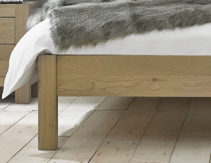 Renzo Aged Oak Upholstered Low Footend Bed Frame