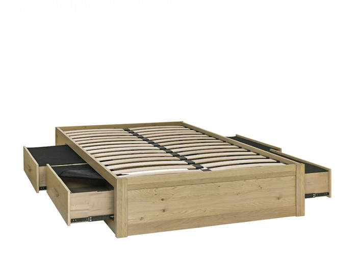 Renzo Aged Oak Storage Bed Base