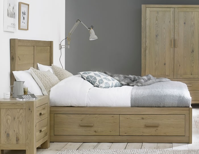 Renzo Aged Oak Panel Storage Bed
