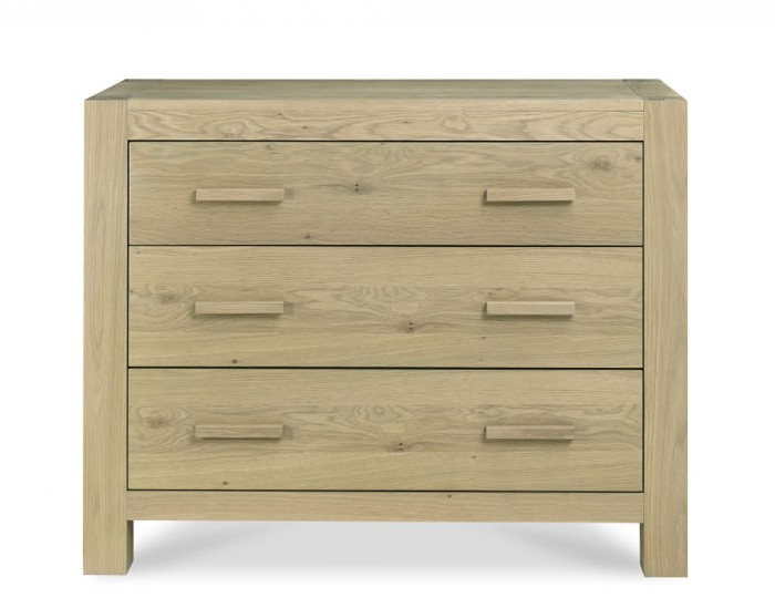 Renzo Aged Oak 3 Drawer Wide Chest