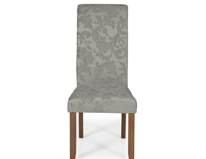Barnstable Silver Floral and Walnut Dining Chairs