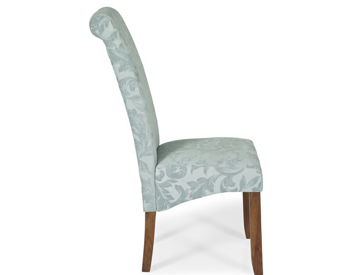 Barnstable Duck Egg Floral and Walnut Dining Chairs