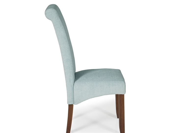 Barnstable Duck Egg Fabric and Walnut Dining Chairs