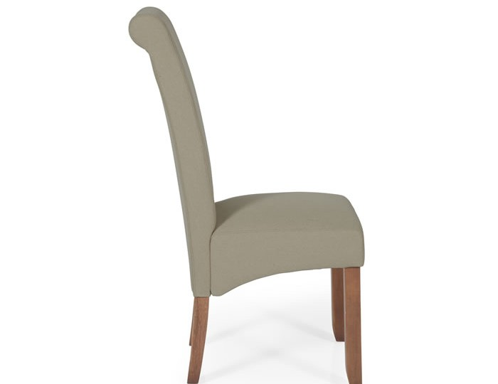 Barnstable Natural Fabric and Walnut Dining Chairs
