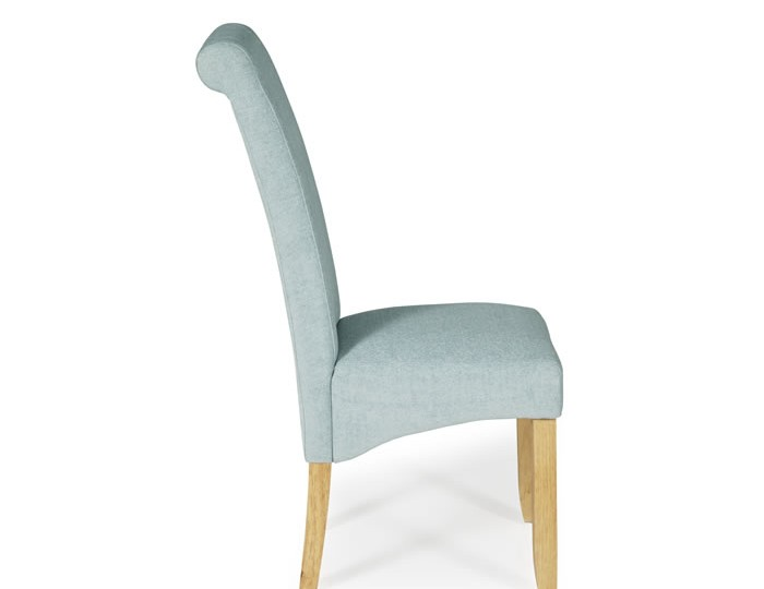 Barnstable Duck Egg Fabric and Oak Dining Chairs