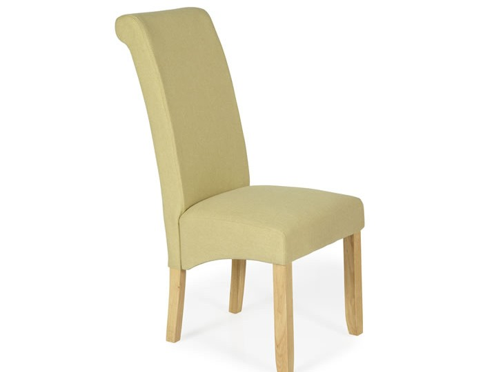 Barnstable Mustard Fabric and Oak Dining Chairs