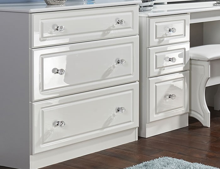 Deeside White Gloss and Crystal 3 Drawer Deep Chest