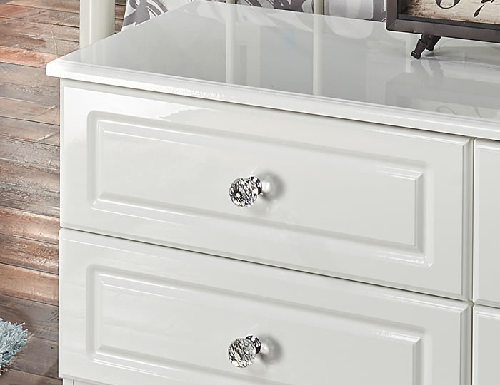 Deeside White Gloss and Crystal 4 Drawer Bed Box Chest