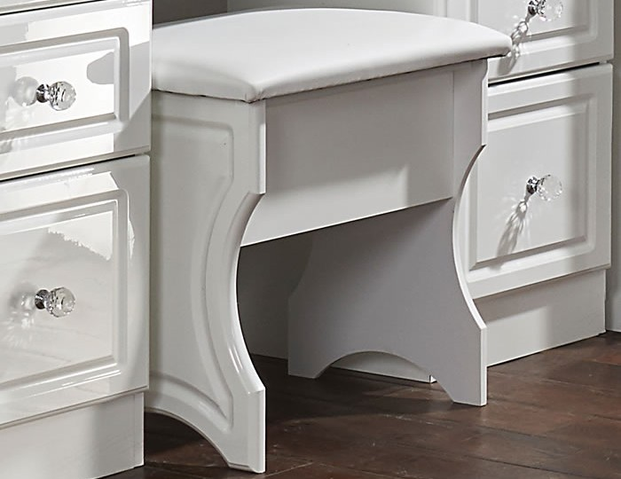 Deeside White Gloss and Crystal Double Dressing Table
