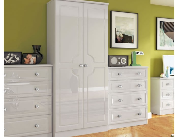 Deeside White Gloss and Crystal 2 Door Wardrobe