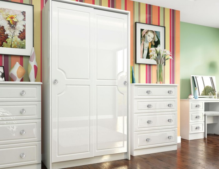 Deeside White Gloss and Crystal Sliding Wardrobe