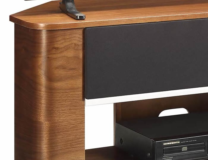 Zennor Curved Walnut Acoustic TV Stand