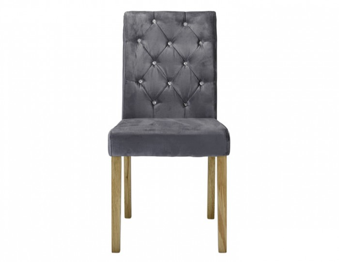 Misha Silver Crushed Velvet Dining Chair