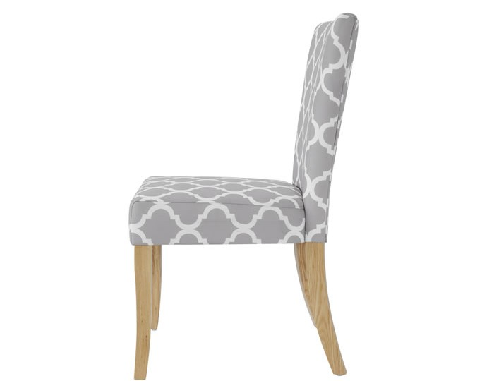 Wincott grey and white fabric dining chair for White fabric dining chairs