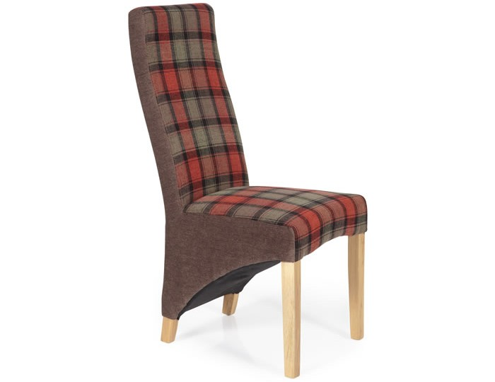 Missouri Brown Tartan and Oak Dining Chair