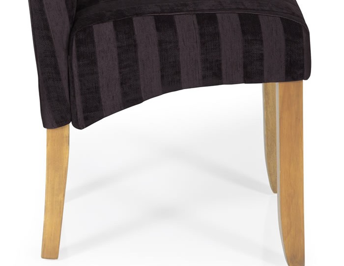 Durham Aubergine Stripe and Oak Dining Chair