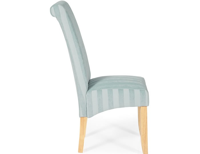Durham Duck Egg Stripe and Oak Dining Chair