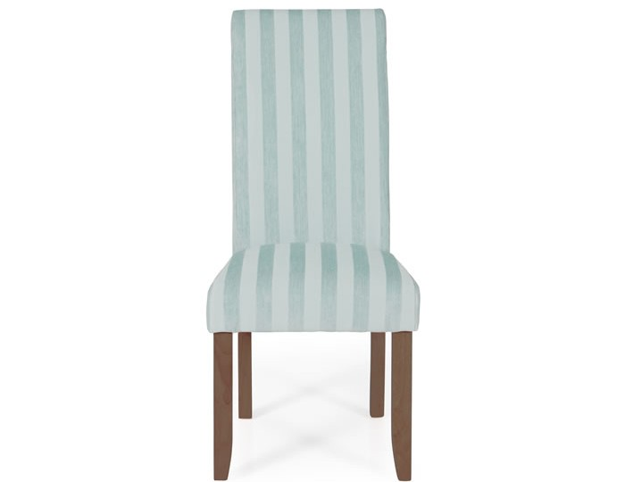 Durham Duck Egg Stripe and Walnut Dining Chair
