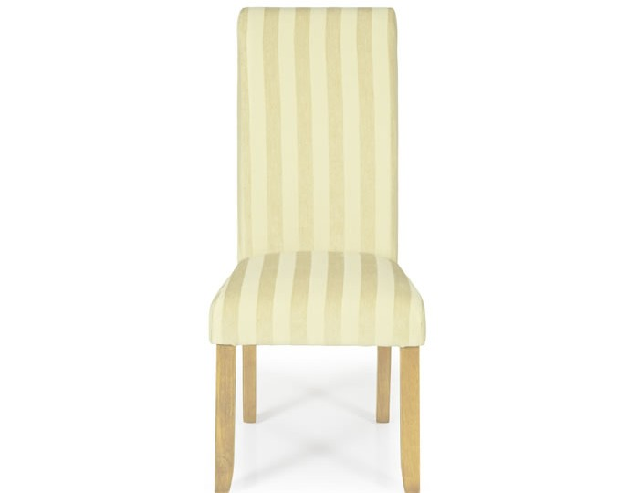 Durham Oatmeal Stripe and Oak Dining Chair