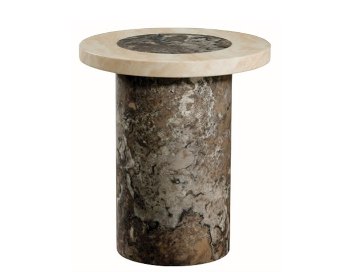 Calabria Dark Brown and Cream Marble Round Lamp Table