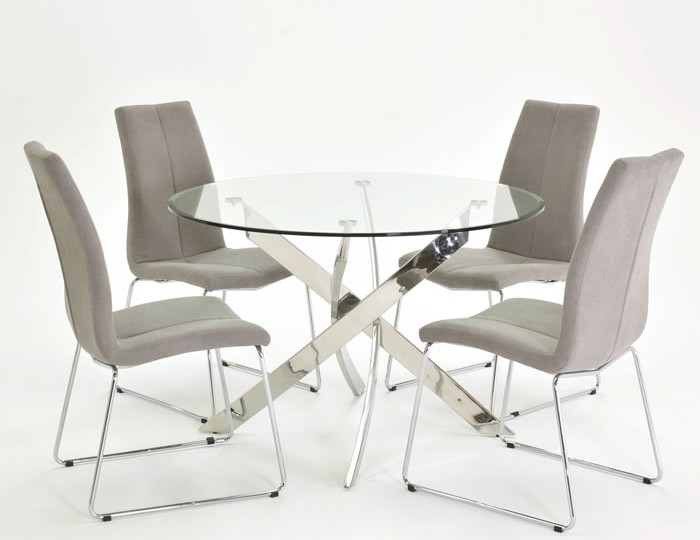 Linsdale Clear Glass Round Dining Table and Chairs
