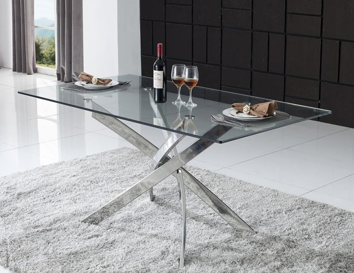 Linsdale Clear Glass Rectangular Dining Table