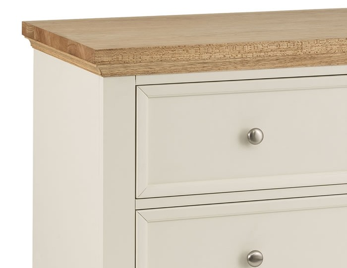 Portland Stone White and Oak 4 Drawer Chest