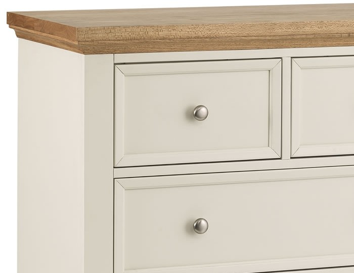 Portland Stone White and Oak 3+2 Drawer Chest